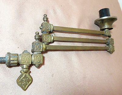 antique ornate Victorian brass electrified expandable gas wall fixture sconce