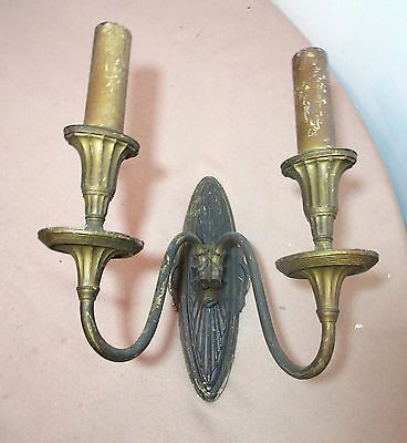 antique ornate 2 arm gilt bronze electric colonial wall sconce fixture lamp