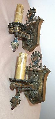 pair 2 quality antique ornate gilt bronze medieval electric wall sconce fixture