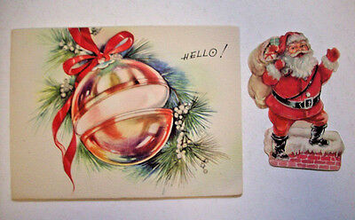 Ornament with removable Santa vintage Christmas greeting card 1A*