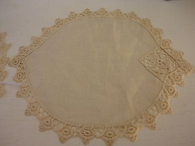 Set of 2 Matching Vintage Hand sewn Embroidered Linen Doilies Dresser Scarf