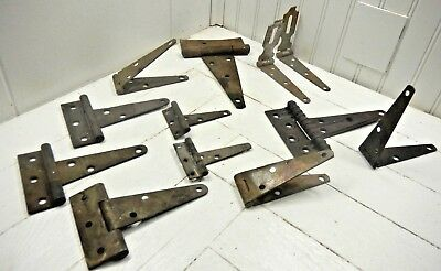 Vintage Lot of 12 Rustic Barn Door Gate Door Strap Hinges Hardware Rusty Locks