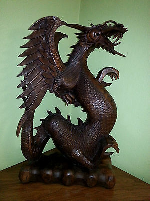 Hand Carved Wood Dragon Sculpture Bali 24 inches Tall. Large size