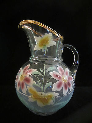 Antique Victorian Hand Painted Enamel Glass Lemonade Ice Tea Water Pitcher  64oz