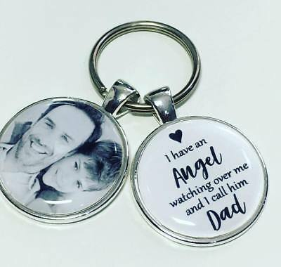Dad Angel personalised memory photo keyring bereavement gifts Dad fathers day