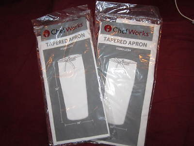 """Set of 2 NWT Chef Works Tapered Apron #LCBA - 32"""" x 38"""" - NEW -FREE SHIPPING"""