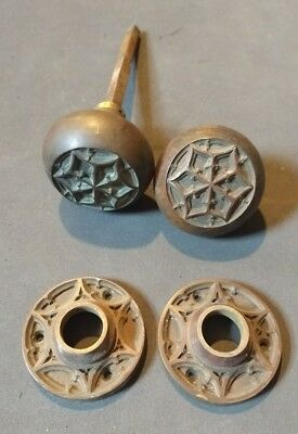 Antique Ornate Brass or Bronze Door Knob - Victorian  - Star