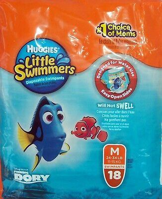 Huggies Little Swimmers 18 Swim Diapers Size Med Wt 26-34 Pounds