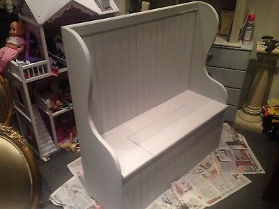 Old antique pew, settle, bench, monks bench, painted French grey