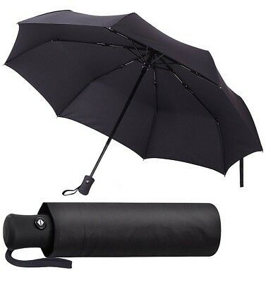 Black Umbrella Compact and Folding Auto Open and Close Windproof 60mph