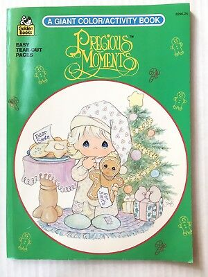 Vintage Precious Moments Golden Giant Color Activity Christmas Coloring Book New