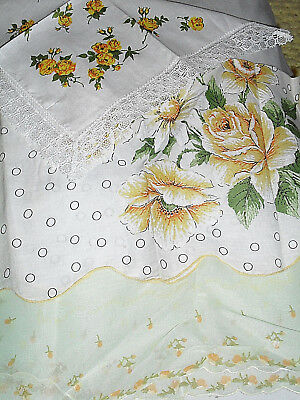 Vintage Yellow Rose Printed Handkerchiefs -- Set of 3 -- Assorted styles