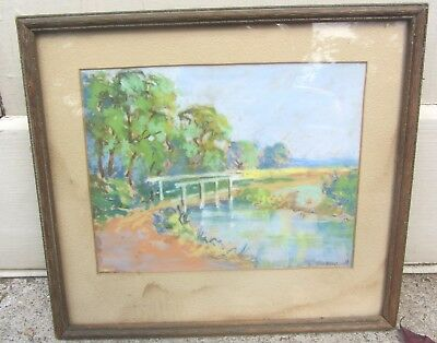 Beautiful Fine Antique 1931 British Countryside Landscape Pastel Painting Signed