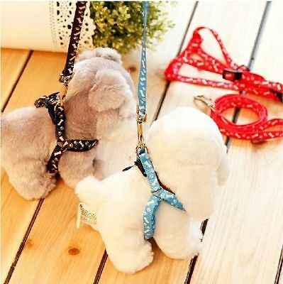 Small Dog Puppy Cat Rabbit Kitten Nylon Harness Collar Leash Lead Adjustable Gt