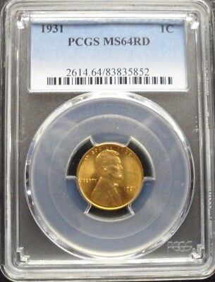 1931-P Lincoln Cent Pcgs Ms64 Rd
