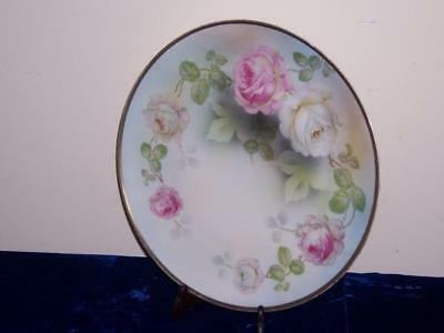 19c PRUSSIA PORCELAIN PINK WHITE ROSES ROUND CHARGER PLATE 1861-1925 GREEN MARK
