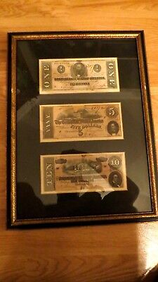 1864 $1 1864 $5 1864 $10 Dollar Bill Confederate States Currency Civil War