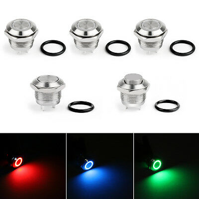 Mini 12mm 12V LED Stainless Steel Momentary Push Button Switch For Car/Boat/ US