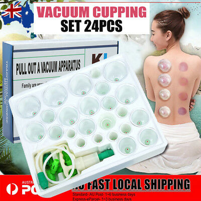 24 Cups Chinese Vacuum Cupping Acupuncture Massage Therapy Suction Set kit NEW