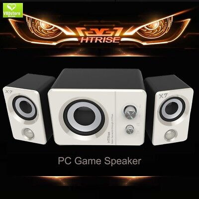 HTRise USB Powered Computer Speakers System (X7 White) for Gaming/Music/Movies,