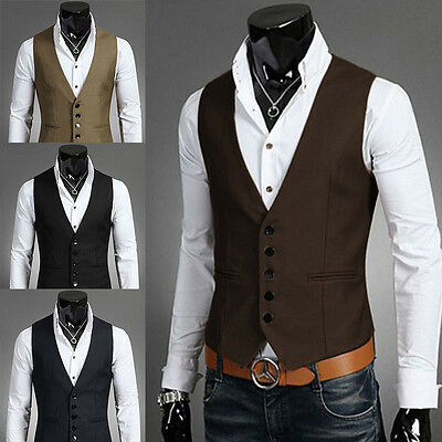 Fashion Men Suit Vest Slim Dress Formal Tuxedo Waistcoat Business Jacket Coat AU