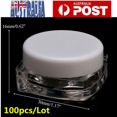 100pcs 3g Clear Plastic Empty Cosmetic Lip Balm Sample Container Pot Jar Cap AU