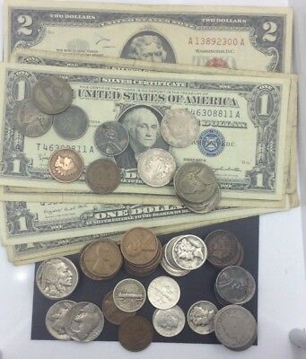 Coins & Currency collection $2 red seal,$1 blue seal note 90% and much more!