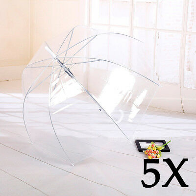 5x Clear Mushroom Umbrella Handle Transparent Dome See Through Party Waterpoof