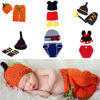 Newborn Baby Infant Kids Crochet Knit Clothes Photo Photography Prop Costume Hat