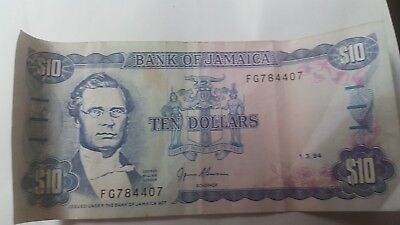 1994 Bank Of Jamaica $10 Note Circulated Paper Currency