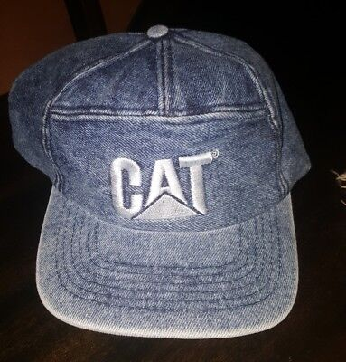 Vintage CAT Tractor Denim Train Conductor Style hat- Made in Switzerland.  Rare