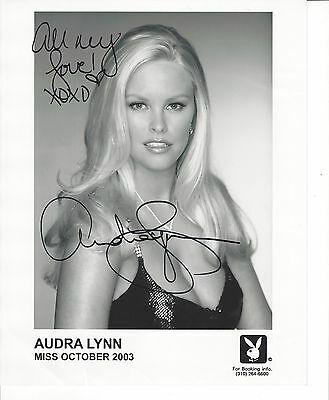 Audra Lynn Signed Glossy 8X10 Promo Playboy Photo Miss October 2003 Playmate