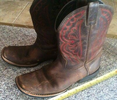 Ariat Brown Leather Square Toe Authentic Western Cowboy Boots US Size 5,Eur 36