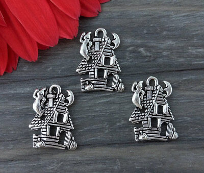 Bulk Haunted House Halloween Charms 5/10/20/50pcs - Silver Ghost Pendants CH200