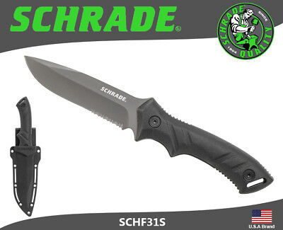 Schrade Fixed Knife Full Tang Serrated 8Cr13MoV Carbon TPE Handle Sheath SCHF31S