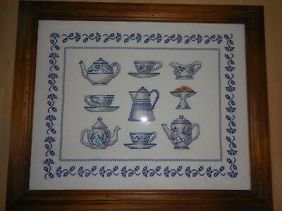 Cross Stitch Complete & Framed Blue & White Teapots & Cups & Saucers