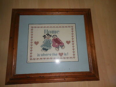 Cross Stitch Complete & Framed Home Is Where The Heart Is