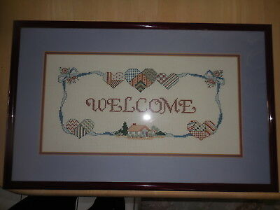 Cross Stitch Complete & Framed Welcome