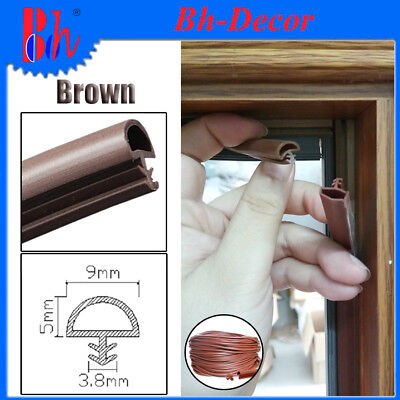 Extruded PVC Sealing Strips Wooden Door Frame Seals Weather Stripping B009 Brown