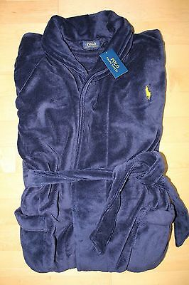NWT RALPH LAUREN Polo Pony Men's Plush Bath Robe NAVY BLUE/YELLOW  S M L XL XXL