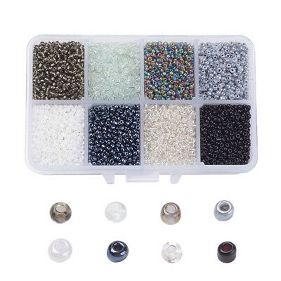 1 Box 12/0 Glass Seed Beads Tiny Round Loose Spacers Gray Tone Beading Craft 2mm