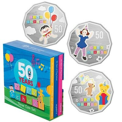 2016 50th Anniversary of Play School Three Colour Coin Set 50c