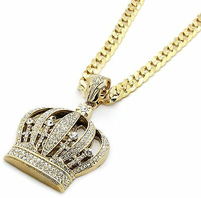 Men's Gold Plated Crown Iced Out Pendant Diamond Cut Rope Chain Necklace bling