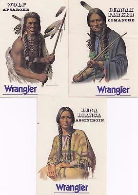 Wrangler jeans set of 3 beautiful Indian stickers from the 1980's New Old Stock