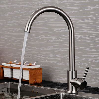 Square Kitchen Sink  Mixer Tap Stainless Steel Single Lever Swivel Spout Brushed