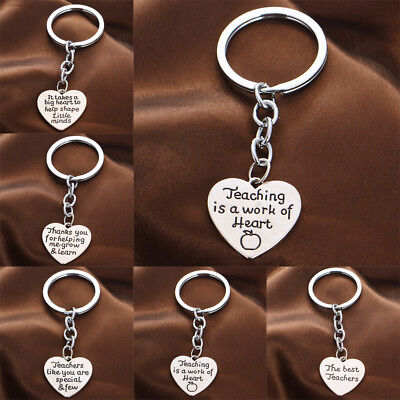 Engraved Words Love Heart Keychain Teachers Gifts Keyring Pendants Key Chain New