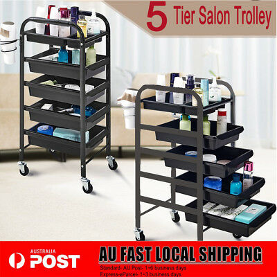 Hairdresser Spa Multifunction 5 Tiers Hair Salon Trolley Rolling Storage Cart AU