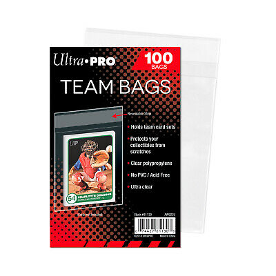 UltraPro Ultra Pro Team Bags RESEALABLE Protectors Pack of 100 Acid Free