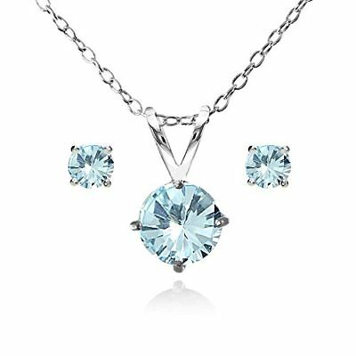 Sterling Silver Blue Topaz Round Solitaire Necklace and Stud Earrings Set Fine