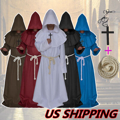 Friar Medieval Cowl Hooded Priest Monk Renaissance Robe Halloween Party Costume